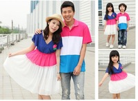 new,summer fashion, lovers sets,family clothes,one-piece dress for mother and daughter, t shirt for father and son,Rose Corsage