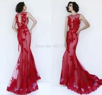 CY4173 Glamorous Red Blue Mermaid Sleeveless Lace Evening Dresses Vestido de Festa Appliques Beads