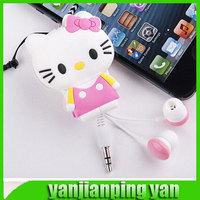 2014 new High Quality 3.5mm In-Ear Hello Kitty Cartoon Animation  Earphone Headphone  For MP3 MP4 Mobile Phone