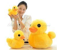 "Free Shipping 1x 10CM 4"" Stuffed Plush Doll Toy Cute Yellow Duck Pillow Doll Animal Soft Toy HG-0035_15"