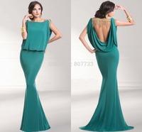 CY4151 2015 New Arrival Green Bateau Vestido de Chiffon Backless Evening Dresses Mermaid