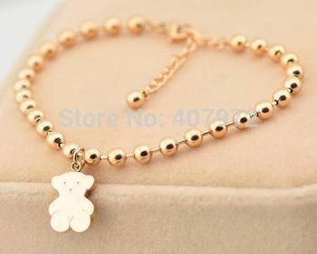 Новый 2014 мода женщины медвежонок браслет титана стали бусины браслеты золотые браслеты TS-065