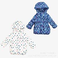 2014 New Girls Russian Velvet Padded Down Jacket Windproof Long sleeve Pollka Dot Hooded down children winter outwear K1003