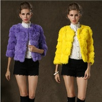Trendy Luxurious Real Rabbit Fur Jacket, Stylish Short Design Genuine Fur Jacket with Various Colors