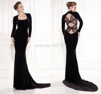 CY4183 Wonderful Black Long Sleeve Prom Dresses Mermaid Backless Lace Robe de Soiree Women 2015 New Fashion