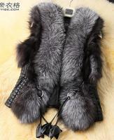 Free shipping womens fashion Fur Vest size:S M L XL XXL XXXL