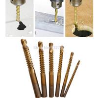 6pc Titanium Coated Woodworking Saw Drill Bit Carpenter Wood Plastic Metal Hole Grooving Saw Drill Bit Cutting Slot Sawtooth Bit