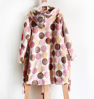 Free shipping wholesale and retail kids girl coral fleece material polka dots warm night robe, homewear