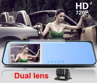"Dashboard Cam HD 1080P 4.3"" Dual Lens Blue Rearview Mirror DVR Allwinner F20 Car Black Box H.264 Night Vision Motion Detection"
