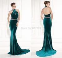 CY4182 Perfect Mermaid Velvet Emerald Green Prom Dresses Low Back Beaded Sashes 2015 Lalter Vestido Longo