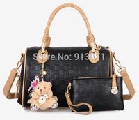 2014 New HQ Multifunctional Embossed Black Leather Bags Handbags Women Tote Bag Shoulder Messgner Handbag Clutch Bear Charm Gift