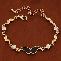 Fashion Hiphop Enamel Black Beard Gold/Silver Bracelets Pulseiras Femininas for Women Men Jewelry Accessories Bijoux