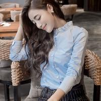 2014 Autumn summer New Casual women cotton women shirt blouse, blusas femininas, long-sleeved female office women tops
