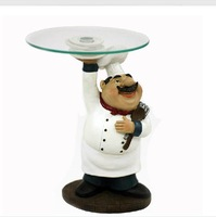Funny Cook Statue Tableware Plate Decor Resin and Glass Craft Embellishment Accessories Furnishing for Fruits, Cakes and Snacks