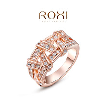 ROXI Fashion Accessories Jewelry Gold Plated Colorful Austria Crystal Big CZ Diamond Twist Pattern Rings Love Gift for Women