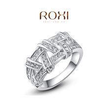 ROXI Fashion Accessories Jewelry Gold Plated Colorful Austria Crystal Big CZ Diamond Twist Pattern Rings Love