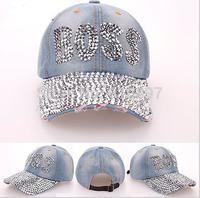 Wholesale 2014  Diamond Point BOSS letters cowboy denim caps women baseball cap rhinestone print men Hats 5pcs/lot Free shipping