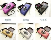 2014 Long design purses vintage punk wallet skull day clutch bag mobile phone women's wallet women's purse