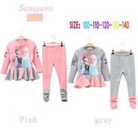 freeshipping2014 new Arrival Frozen Girls Clothing Sets Children Kids Autumn Anna &Elsa Princess Clothes 5sets/lot