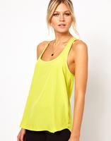 2014 hot sale brand women tops low-cut chiffon tank top vest yellow green top ruffles