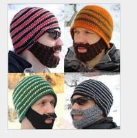 Free shipping new design women and Men beard knitting wool hat  hand knitting hat in winter