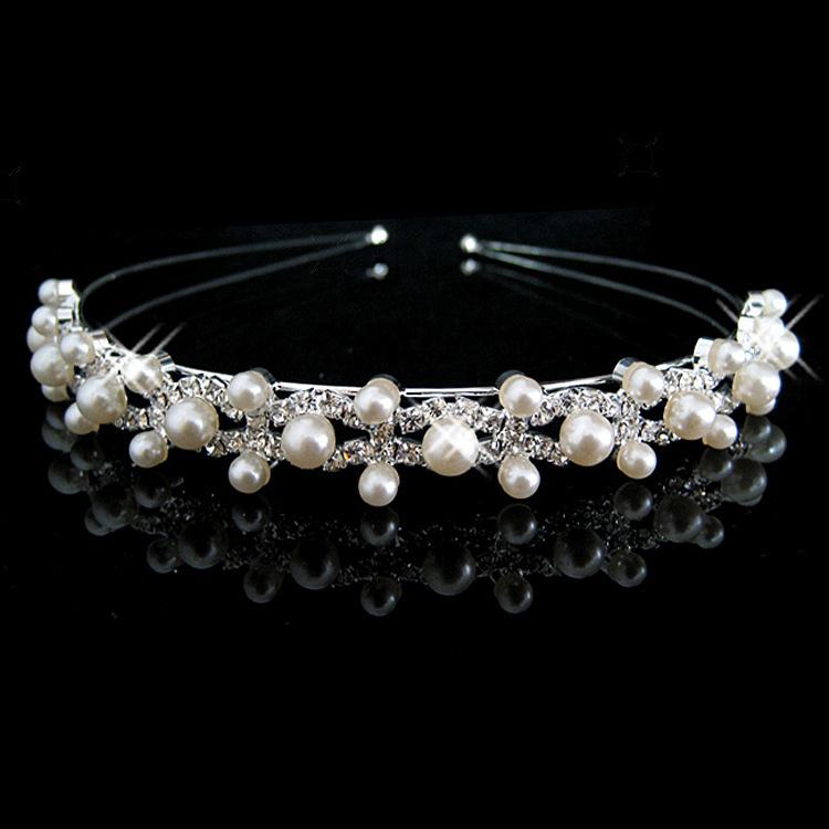 fashion pearl crystal wedding princess tiara headband rhinestone pageant crowns for bride hair accessories(China (Mainland))