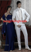 Classic White Wedding Suit Coordinated With Satin Lapel Custom Made Groom Suit MS0388