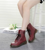 2014 New Winter Fashion  Leather  Martin  Boots Flat Bottomed Boots Female Boots Tendon at the end martens