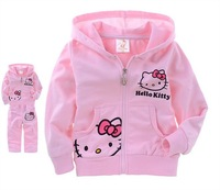 Girls suits clothing autumn kids long-sleeved set cotton printed cartoon hello kitty terry hooded zip cardigan jacket wholesale