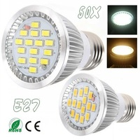 50pcs High Quality  E27 12W 15LED 5730 85V-265V SMD Warm / White Aluminum led Lamp led spotlight bulb CE RoHs Hot  Free Shipping