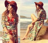 Summer 2014 Fashion Women's Chiffon Crochet Bikini Swimwear Beach Cover Up Women,Sexy print Bathing Suit Cover Ups