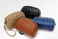 2014 women's handbag day clutch wallet mobile phone bag skull rivet mini one shoulder bag small bag clutch