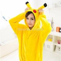 2014 Hot Selling Unisex Flannel Fashion Pajamas Pyjama Adult Cute Anime Cosplay Costume Onesie Sleepwear Stitch Pikachu S/M/L/Xl