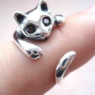 Moda personalidade presente do dia gato anel aberto anel de dedo(China (Mainland))