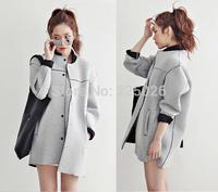 2014 New Spring Plus Size Cardigan Windbreaker Women Trench Coat For Lady Women's Trench Coats Overcoat Gray Autumn Winter Warm