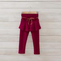 2014 New autumn winter,girls princess pantskirt,children cotton leggings,sashes,with velvet,2 colors,5 pcs/lot,wholesale,1855