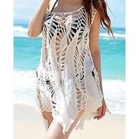 Girls Crochet Beach Cover Up Sleeveless Swimsuit Bathing Suit Bikini white Long Dress 2014 hot sale