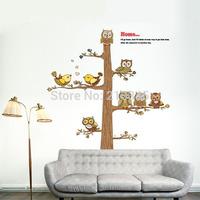 [Saturday Mall]- retro owl tree wall sticker nursery kids room children bedroom home decor decals art cartoon removable pvc 5309