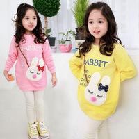 Free shipping 100% cotton Children long-sleeved sweatshirts girls/Kids hoodie children's rabbit long sweatshirt 5 pcs/lot
