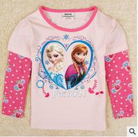 100% cotton t-shirts for girls fashion frozen tee tops children's clothing cartoon long-sleeve t shirts kids clothing