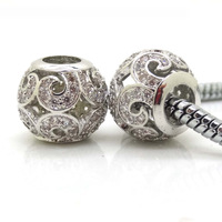 Fits Authentic Pandora Style Bracelets 925 Sterling Silver Beads Micro Pave Zircon Flower Charm Beads DIY Women Jewelry 2Pcs