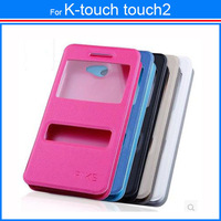 New 2014  items Free Shipping Flip Case Dual View Windows Cell Phone Cases For K-touch touch2 Touch 2 + Free Gift