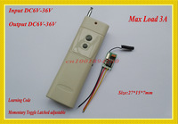 DC 9V Mini Remote Control Switch DC6V-36V 7.4 6V 9V 12V 16V 24V 28V 36V Input Output Power Remote ON OFF Long Range Transmitter