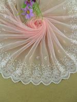 Wholesale -  Pretty pink embroidered lace trim diy craft  doll wedding dress  23.5cm 9.5inch