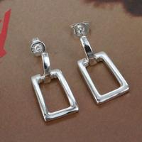 E057 Wholesale 925 silver earring 925 silver fashion jewelry earring Big Square Earrings