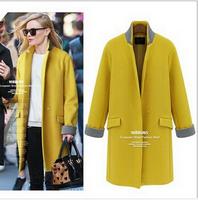 2014 fashion European style women woolen coat slim long wool blended overcoat, winter outwear for women black free shipping