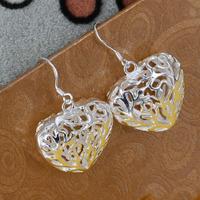 E075 Wholesale 925 silver earrings, 925 silver fashion jewelry, Solid Heart Earrings /azzajrgasi