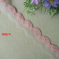 Wholesale -  Pretty pink embroidered lace trim diy craft  doll wedding dress  2cm