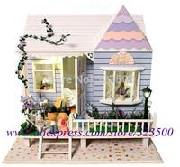 "Scale Model Wooden DIY Dollhouse Miniature Handmade Assembling Hobby Doll House with Furniture Light ""Hawaii Honeymoon House"""