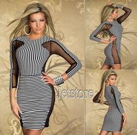 New Fashion Pinstripe Black and White Slim Mini Dress Mesh See Through Bodycon Striped Clubwear Casual Party Sexy Dress 6904